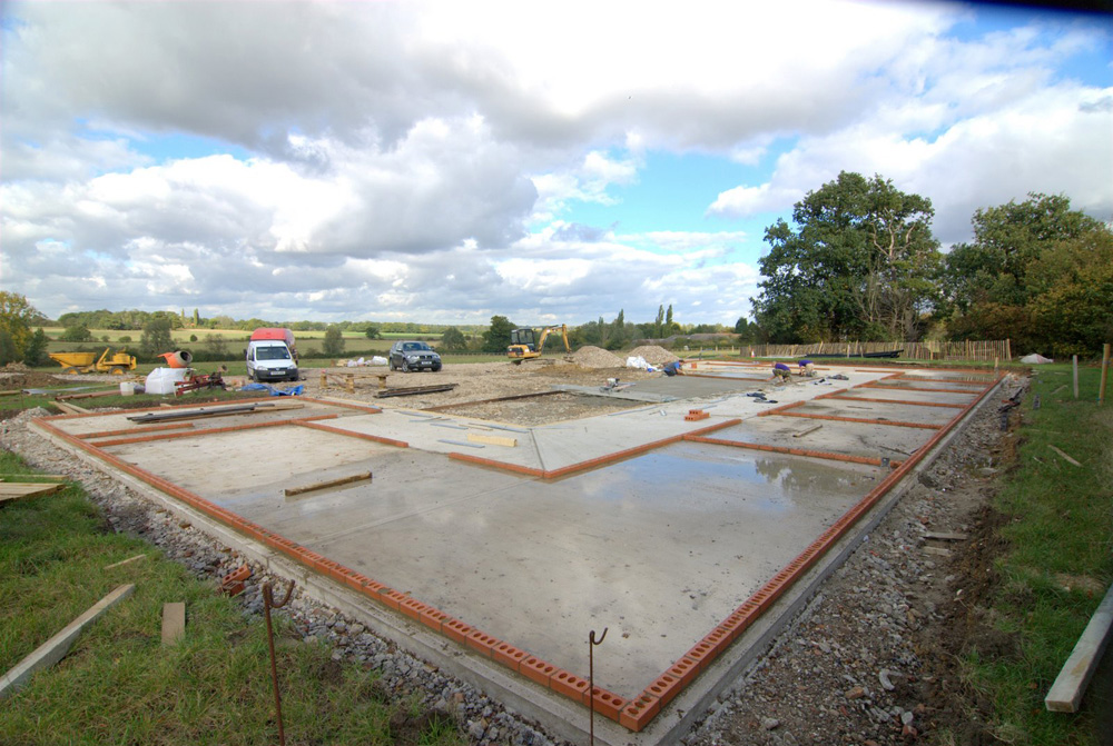 View of groundworks for stables